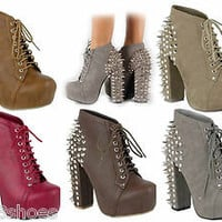 Chunky Heel  Lace Up  Studded Spike Platform Shoes Red Taupe Grey Camel Brown