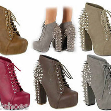 Women's Fashion Chunky Heel Lace Up Studded Spike Platform Bootie Shoes
