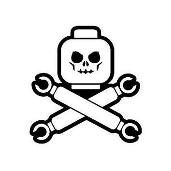 Skull Crossbones Lego  Vinyl Car/Laptop/Window/Wall Decal