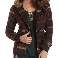 Tribal Print Wool-Blend Coat by Charlotte Russe - Wine Combo