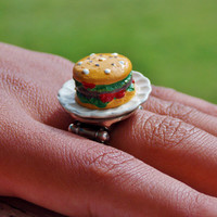 Hamburger Fashion Ring. Kawaii Food Jewelry. Food Ring. Adjustable Band Ring.