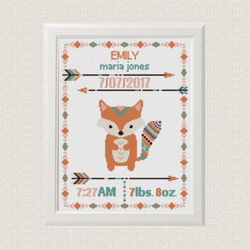Cross stitch Birth announcement Fox cross stitch pattern baby sampler new baby girl birthday gift  aztec tribal nursery home decor
