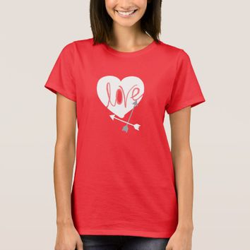 Funky Coral Love Heart Arrows T-Shirt Top
