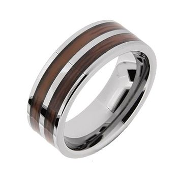 Koa - Men's Tungsten Ring With Koa Wood Inlay
