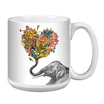 Love Elephant Jumbo Mug - Premium 20 oz Ceramic Coffee Tea  & Soup Mug