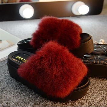 Women Flips Flops 2016 Winter Warm Fur Shoes Woman Slippers Fashion Platform Female Slides Shoes Woman Flat Slippers Women