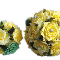 Yellow and green Bridal bouquet package, Wedding bouquets, Paper Bouquet, Wedding party bouquets, Fake bouquet, silk bouquets, Faux Bouquets