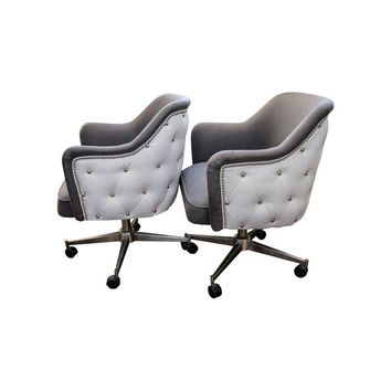 Pre-owned Reupholstered Mid-Century Office Chairs - A Pair