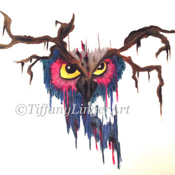 Owl drawing, pastel drawing, eyes, bird, feather, feathers, colorful, animal, original, bird art