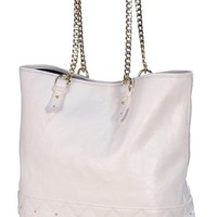 Juicy Couture Tomi Anja Frankie Quilted Leather Tote Handbag Purse-White