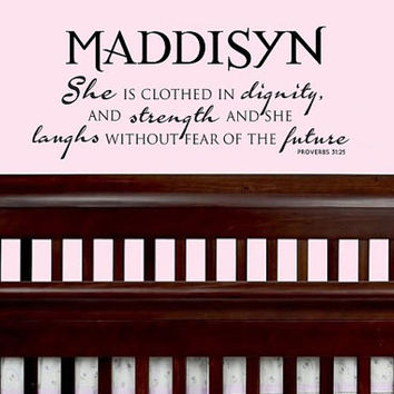 Personalized She is clothed with dignity and strength Proverbs 31:25 Bible scripture vinyl wall art decal for baby girls, teens, women