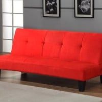 Red Microfiber With Adjustable Back Klik Klak Sofa Futon Bed Sleeper