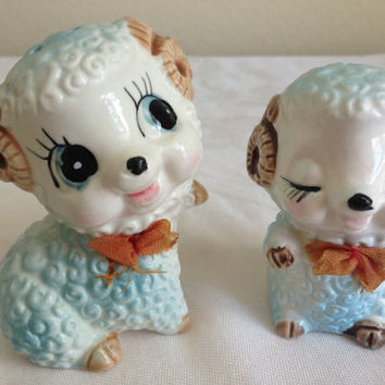 Adorable Rare Vintage Porcelain Ram Salt & Pepper Shakers Baby Blue 1950s With Stoppers