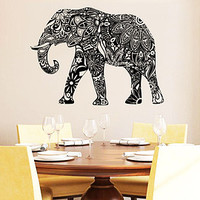 Wall Decal Elephant Vinyl Sticker Decals Lotus Indian Elephant Floral Patterns Mandala Tribal Buddha Ganesh Om Home Decor Bedroom NS910