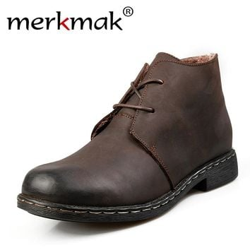 British Style Vintage Boots Genuine Leather Martin Men Water Proof Work Hiking Winter Ankle Boots Shoes