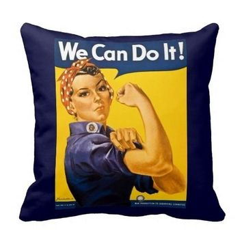 "Rosie The Riveter We Can Do It Pillow Case Cover (Size: 20"" by 20"")"