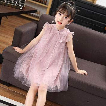 Girls Dress Trend Of Back-to-ancients 2017 Summer Princess Dresses Kids Clothing Lace Cheongsam Children Costume Girls Clothes