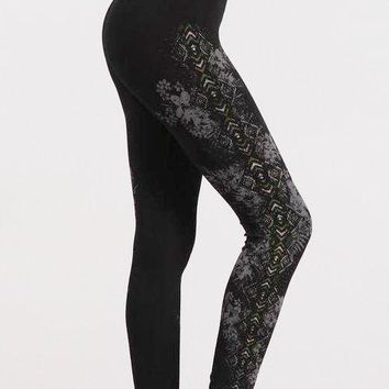 High Waist Tropical Aztec Print Leggings in Black