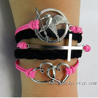 Telesthesia lovers bracelet--silver cross,LOVE Heart and Hunger Games Mocking Bird bracelet,pink and black wax rope leather braided bracelet