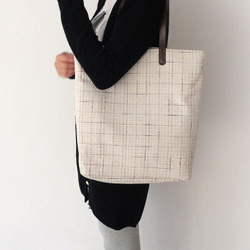 Simplewind-Women's Casual Bag-Original Cotton Bag-Simple Shopping Bag-Plaid Stripe Cotton Shoulder Bag-Color Beige