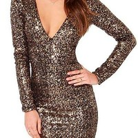 Brown Long Sleeve V-Neck Sequined Bodycon Dress
