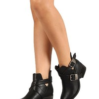 Breckelles AD94 Women Leatherette Designer Cut Out Round Toe Ankle Bootie - Black (Size: 8.5)