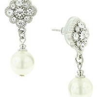 Amore Dazzling Pearl Drop Earrings - David's Bridal