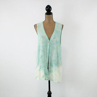 Light Blue Tie Dye Vest Women Long Vest Hippie Clothes Beach Cover Up Small Medium Vintage Clothing Womens Clothing