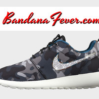 "Nike ""Bling"" Roshe Run Women's Black/Brigade Blue Swoosh by Bandana Fever"