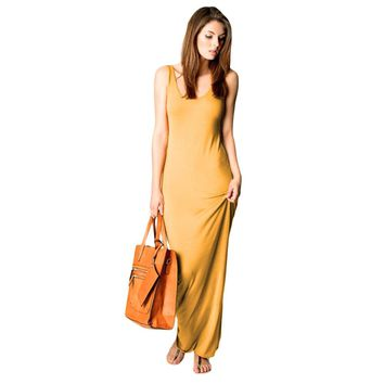Brief Round Neck Sleeveless Bodycon Solid Color Long Sundress for Women