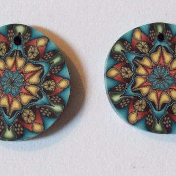 2 Polymer Clay Kaleidoscope Beads - New Handmade Craft Jewelry Supply- Yellow-Blue-Multi