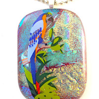 Fused Dichroic Glass Necklace Pendant Tropical Bird in Green Gold Blue  Statement Jewelry  512