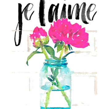 Inspirational canvas quote print, je t'aime, Printable quotes for the home prints wall art quotes sayings art