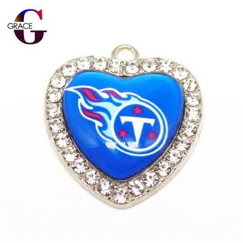 Tennessee Titans Football Team Crystal Glass Heart Sports Hanging Dangle Charms DIY Women Bracelet Necklace Jewelry Accessory