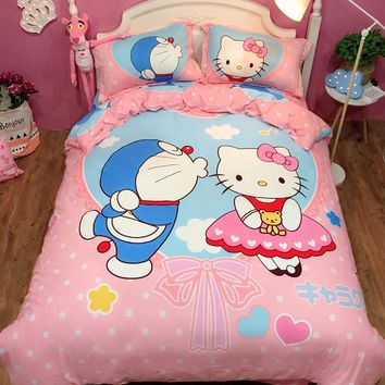 100% cotton Sweet lovely hello kitty Doraemon bedding sets twin queen king cat pink duvet cover bed sheet pillowcase bedclothes