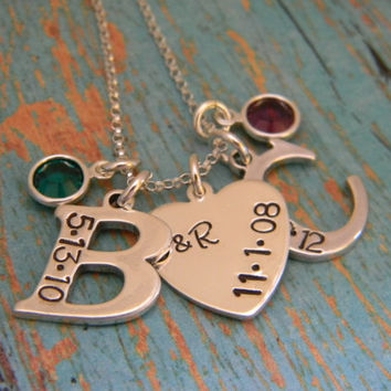 Large Solid Sterling Silver 2, Two Letter Initial With Heart Custom Hand Stamped Personalized Mother Necklace with Birthdate and Birthstone