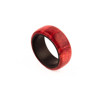Wood Ring Red Maple Burl - Any Size Ring - Handmade Ring - Wooden Ring - Mens Ring - Womens Ring - Wedding Ring - Gift Ring - Eco Ring