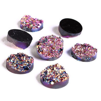8 Purple pink gold blue round resin cabochon 12mm - Faux druzy cabochon Faux drusy cabochon Textured cabochons (1216-1) - Flat rate shipping