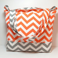 Orange Chevron Bag - Orange Gray - Chevron - Large Tote Bag - Summer Beach Bag - Made To Order - Vacation Bag
