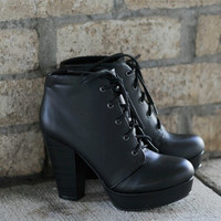 Black Lace Me Up Booties