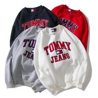 """Tommy Jeans"" Classic Fashionable Unisex Leisure Long Sleeve Velvet Sweater Pullover Top Sweatshirt"