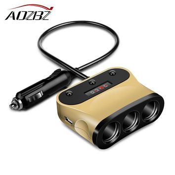 AOZBZ Cigarette Lighter Socket 1 to 3 120W 3.1A Dual USB Car Charger Adapter with Volmeter Independent Switch Smart Fast Charge