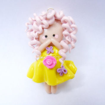 Polymer clay pink curly haired chibi girl