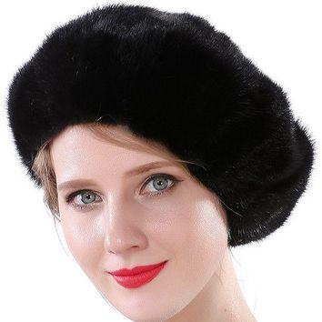 ONETOW Valpeak Women Winter Berets Real Mink Tail Fur Hat