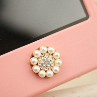 Bling Crystal Circle Pearl iPhone Home Button Sticker for iPhone 4,4s,4g, iPhone 5, iPad from LOOBACK FASHION STORE