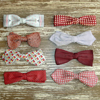 Lot of 8 Vintage Mens Bow Ties, Mid Century Retro Neckties, Preppy, Clip On, Gift for Him, Red Gray Plaid Polka Dot Checked Silk, Ormond