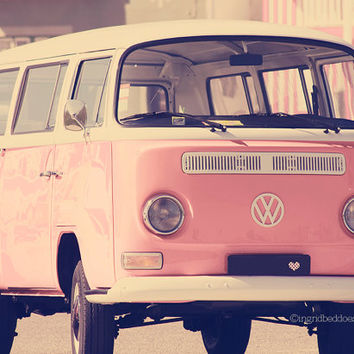 VW camper van photography - pink vw bus -  travel photography - whimsical vintage style - retro decor - wall decor - home decor - nursery