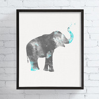Watercolor Elephant, Elephant Decor, Baby Boy Nursery, Nursery Wall Art, Elephant Print, Watercolor Art, Kids Room, Childrens Wall Art