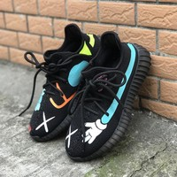 Adidas 350v2 KAWS hand painted coconut sperm cooperation between men and women casual sports shoes