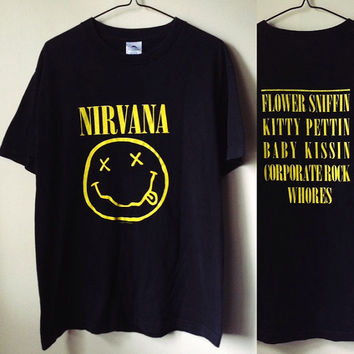 "Vintage '92 Black Nirvana 'Flower Sniffin'"" Smiley Face T-Shirt Medium"